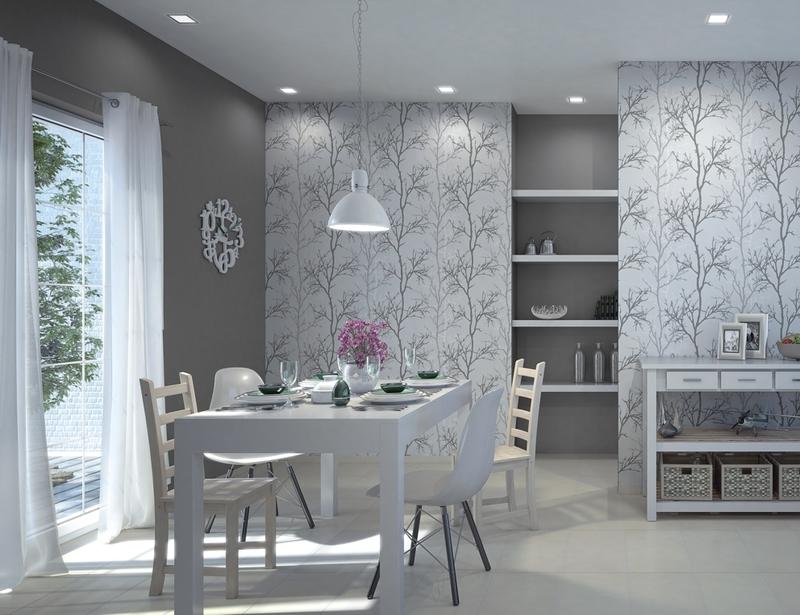 Baltas minimalizmas sušildytas kakavos tonais ir medžių siluetais