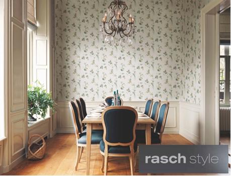 Provanso stiliui būdingi smulkūs raštai bei pastelinės spalvos. Rasch collection. Sophie Charlotte.